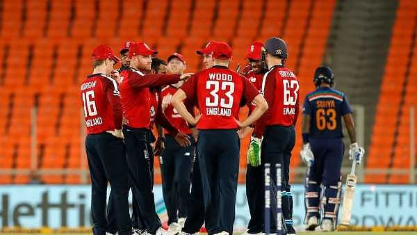 England celebrate the wicket of Suryakumar Yadav in the 4th T20I