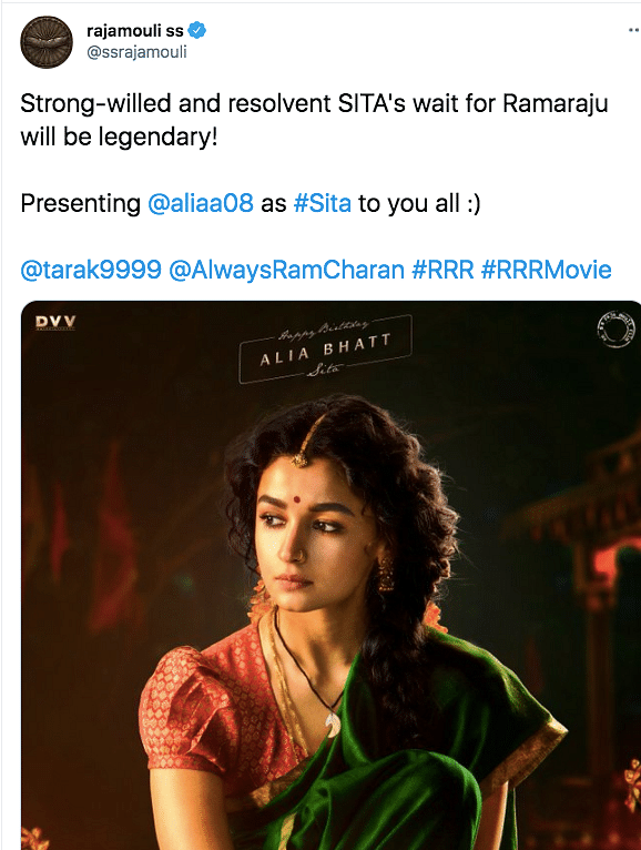 First Look of Alia Bhatt as Sita From Rajamouli's 'RRR' Unveiled