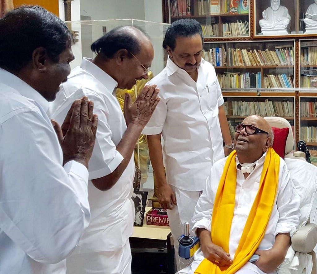 PMK founder Ramadoss with late DMK supremo Karunanidhi.