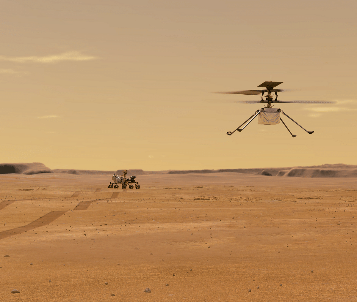 Illustration depicts Mars Helicopter Ingenuity during a test flight on Mars.