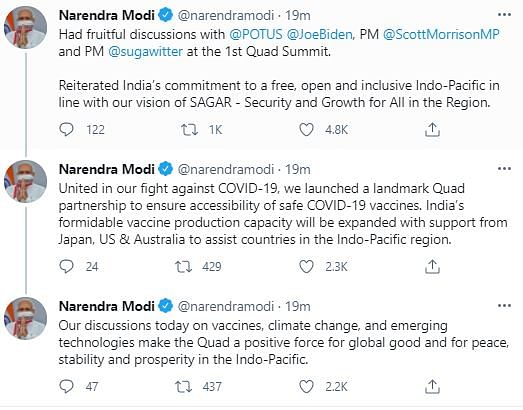 'United by Democratic Values': PM Modi at Quad Leaders' Summit