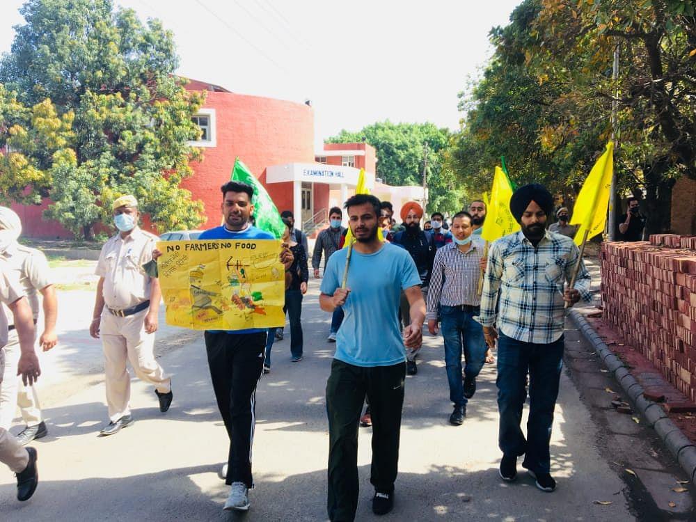 Bharat Bandh in Panjab University Chandigarh on Friday.