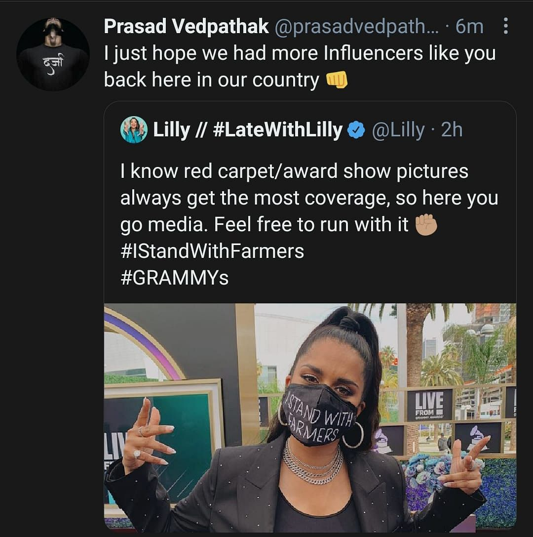 Grammys: Twitter Lauds Lilly Singh's Message Supporting Farmers