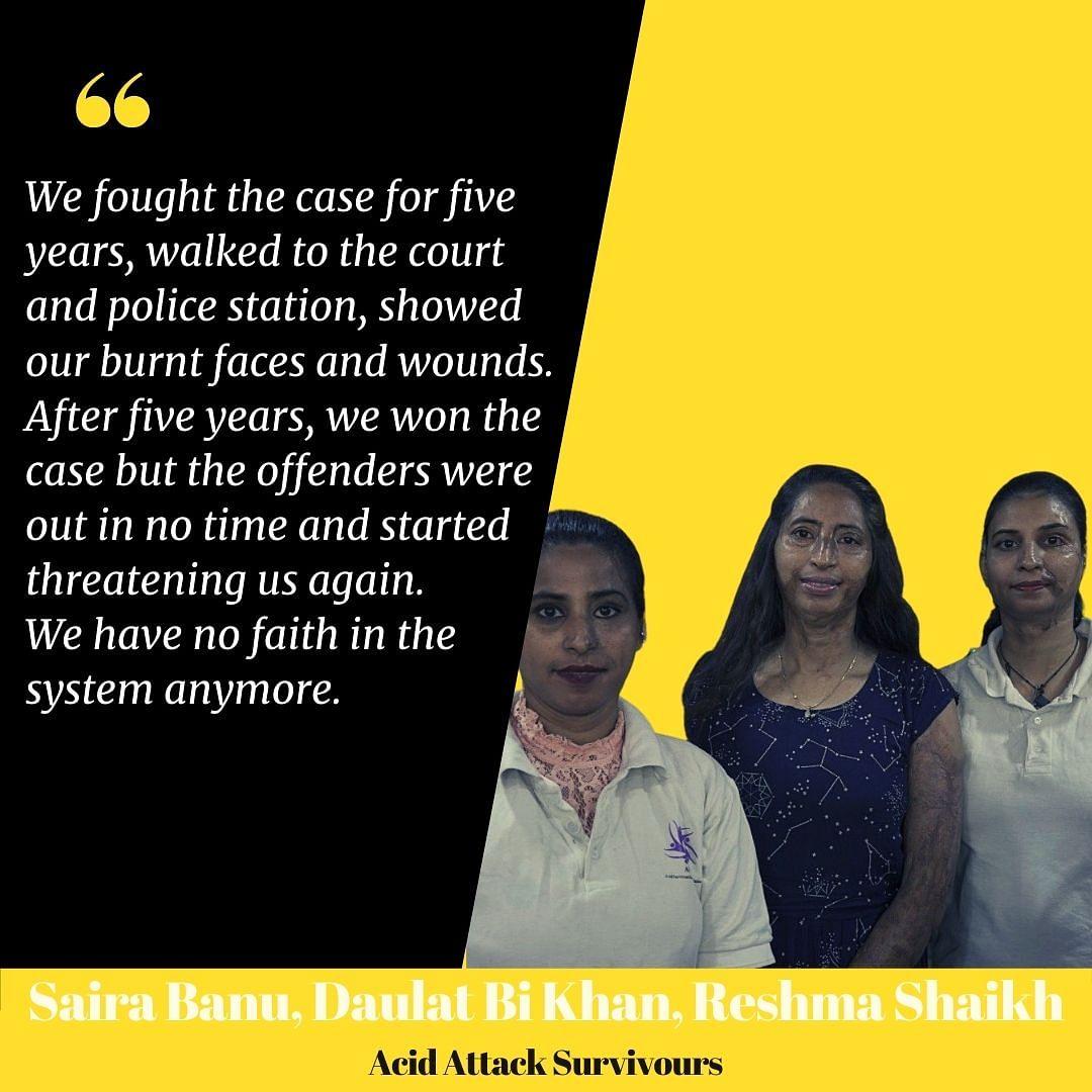 Daulat Bi Khan and her sisters, Saira Banu and Reshma Shaikh.