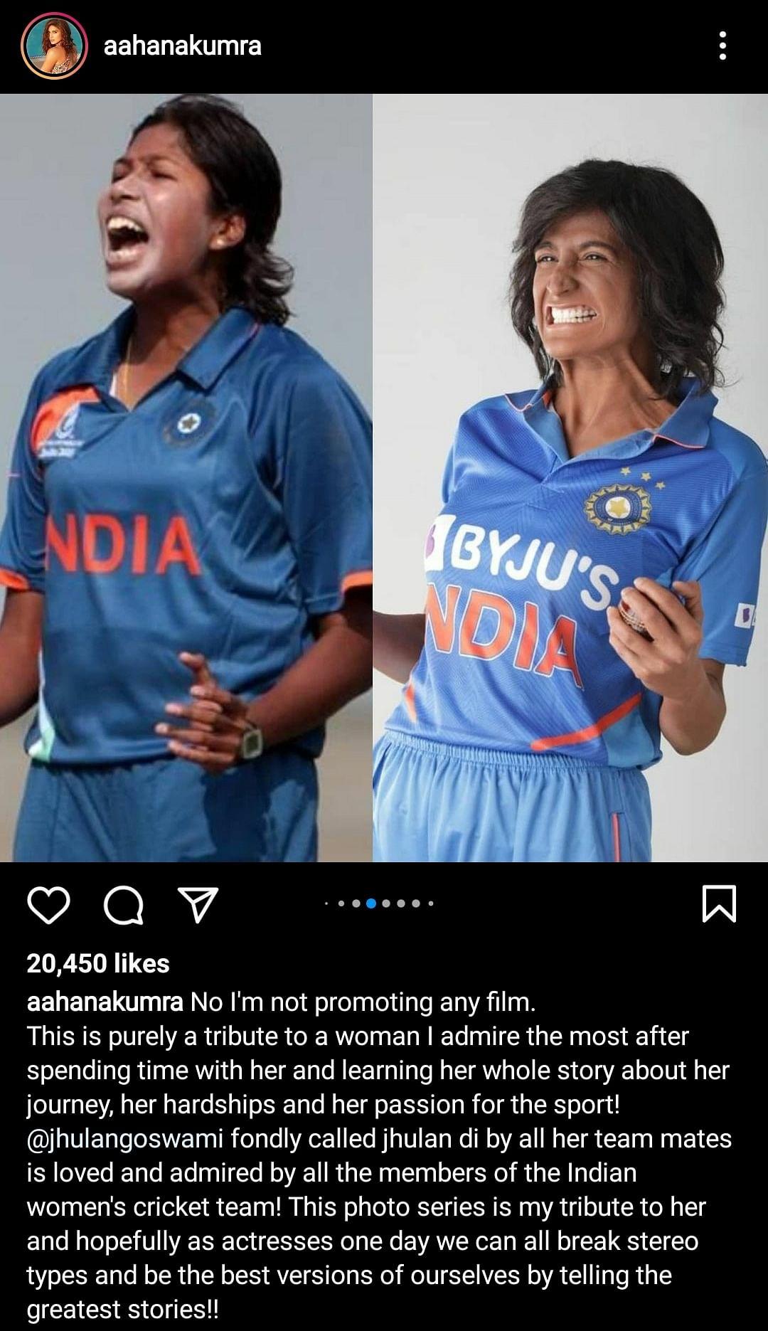 "<div class=""paragraphs""><p>Aahana Kumra's post on Instagram</p></div>"