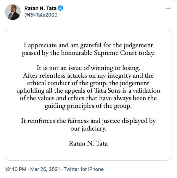 Ratan Tata's tweet.