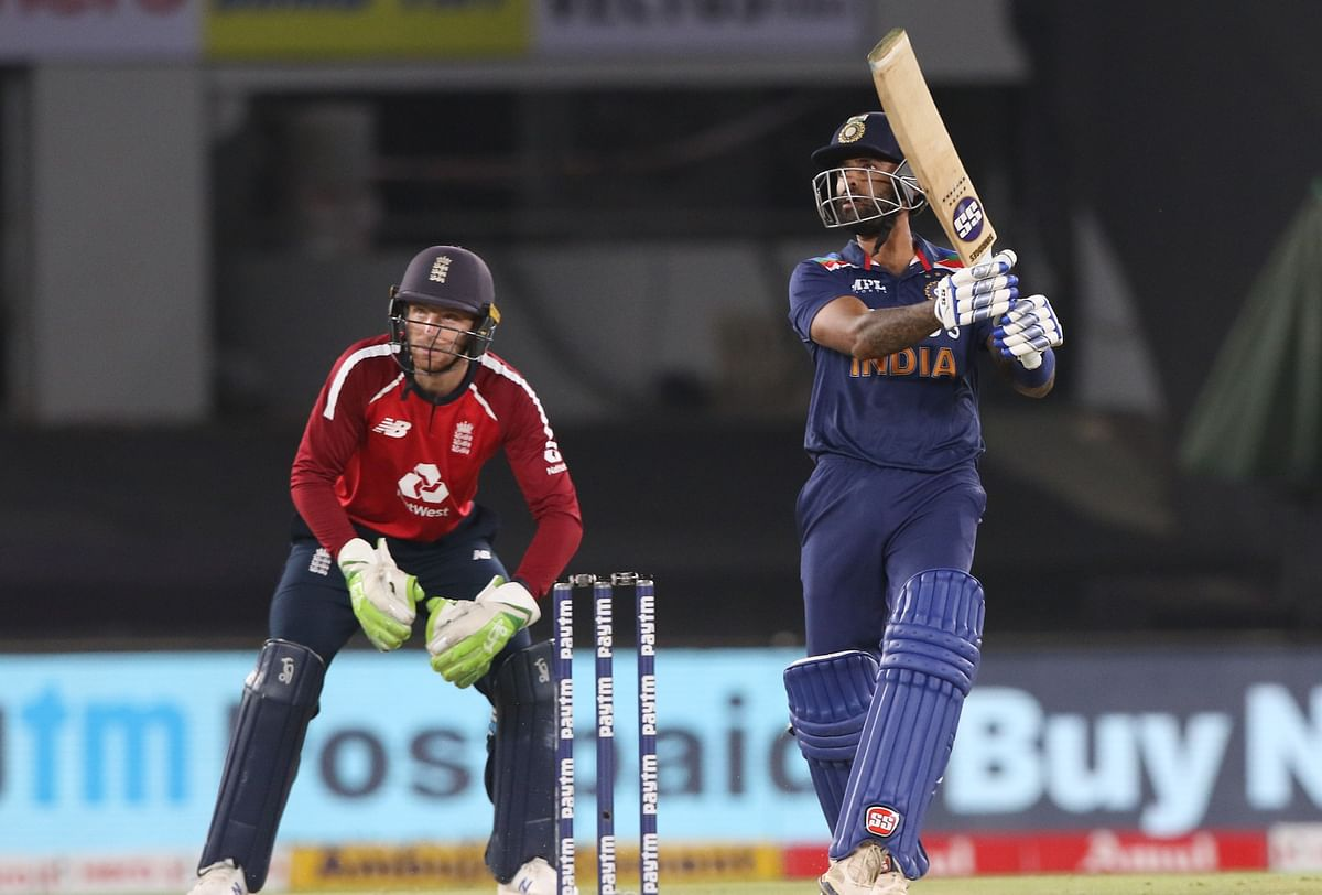 Suryakumar Yadav on the attack in the 4th T20I against England.