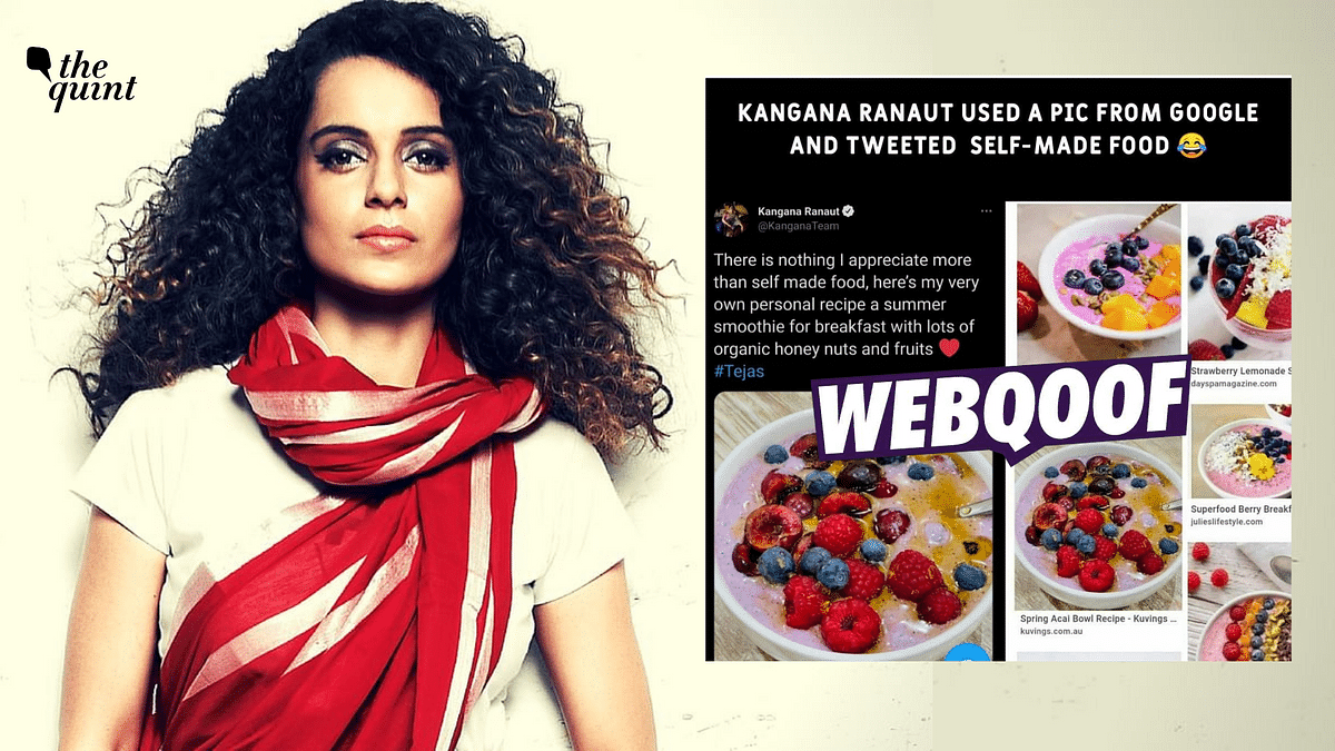 Several social media users falsely alleged that Kangana Ranaut had passed off an image from a recipe site as self-made food.