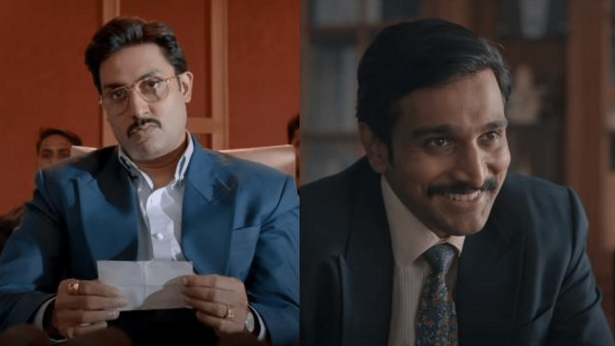 "<div class=""paragraphs""><p>Abhishek Bachchan in 'The Big Bull' (left) and Pratik Gandhi in 'Scam 1992'</p></div>"