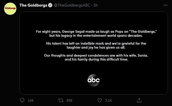"<div class=""paragraphs""><p>A statement from 'The Goldbergs' official account</p></div>"