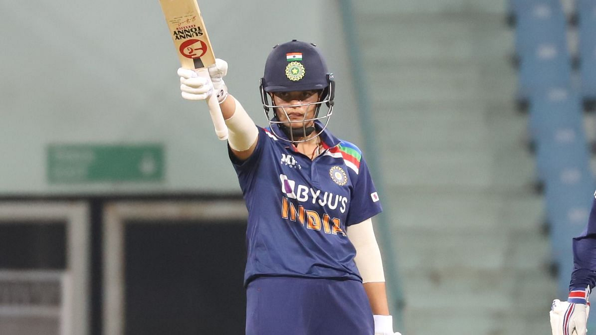 Shafali Verma after scoring a half-century against South Africa.