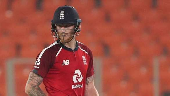 Ben Stokes reacts during the 4th T20I against India.