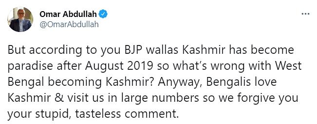 'Stupid, Tasteless': Omar Abdullah on Suvendu's Kashmir Remark