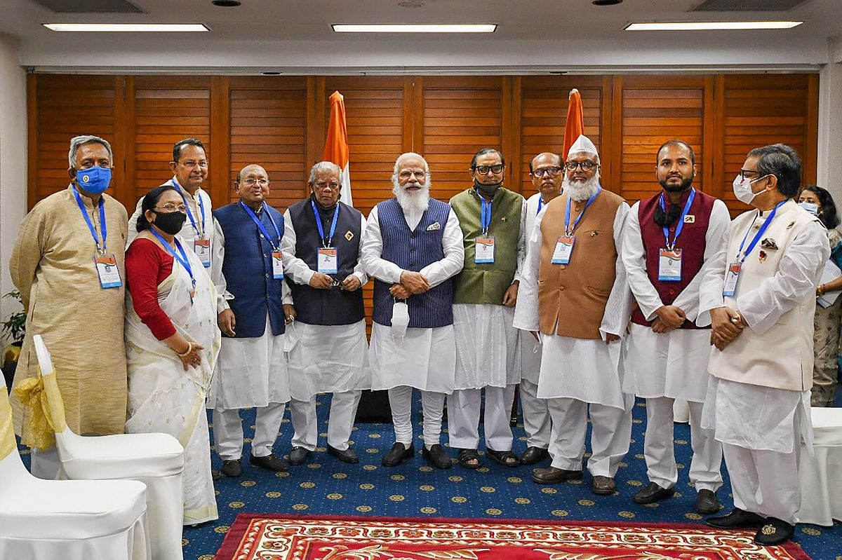 Prime Minister Narendra Modi meets meets political leaders from 14 Party Alliance, during his visit on the occasion of 50th Independence Day of Bangladesh, in Dhaka, Friday, March 26, 2021