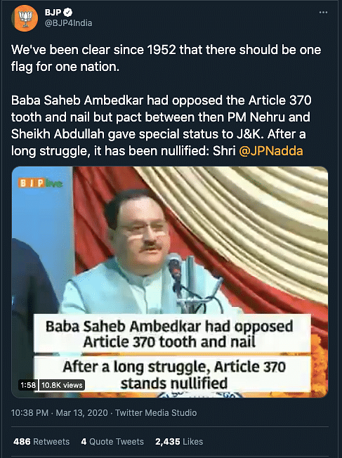 "This claim was debunked by <b>The Quint</b>. Read our fact-check <a href=""https://www.thequint.com/news/webqoof/ambedkar-and-article-370-facts-or-propaganda-to-fit-the-current-discourse#read-more"">here</a>."