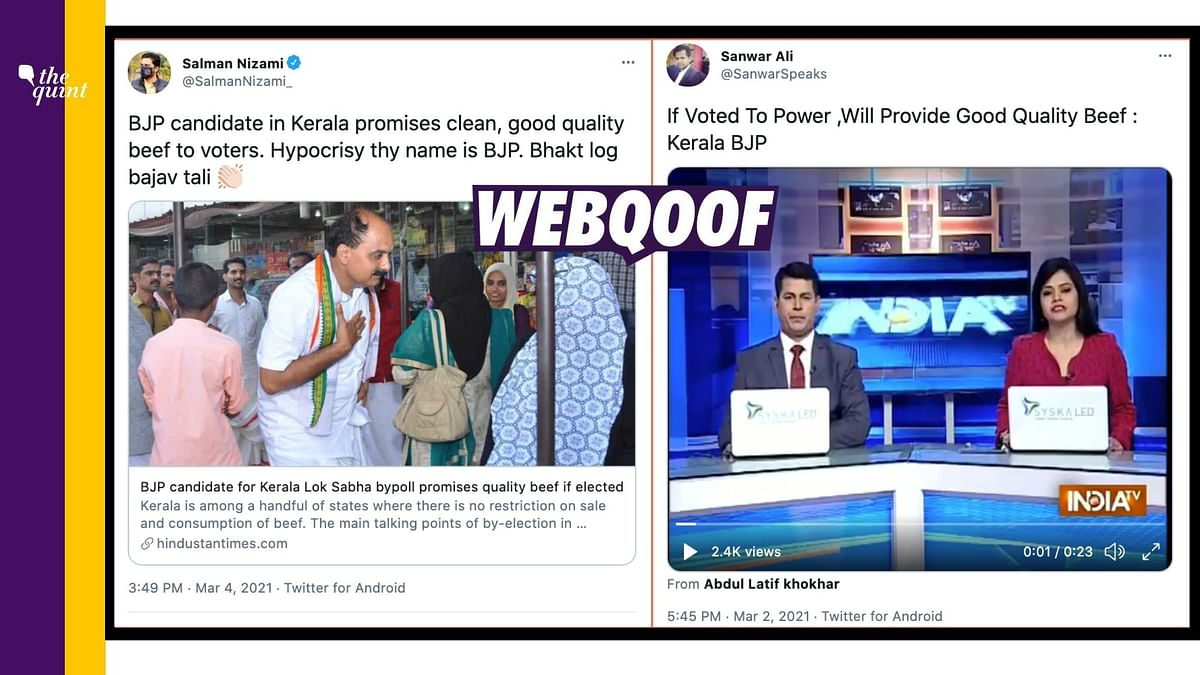 Kerala BJP Candidate's 2017 Promise of 'Quality Beef' Revived