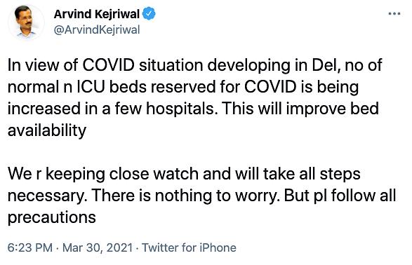 Arvind Kejriwal's tweet.