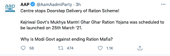 AAP tweets about the Centre blocking the Delhi government's ration-at-doorstep scheme.