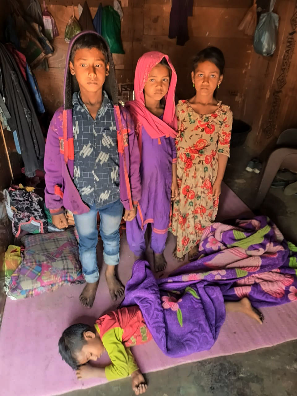 Rohingya refugees at a makeshift camp.