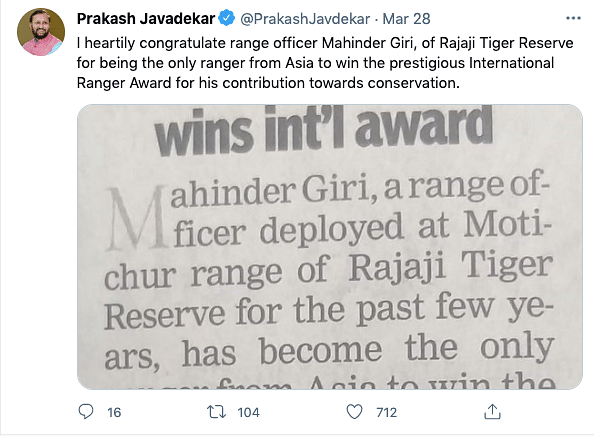 Indian Forest Staffer Becomes Only Asian to Win Int'l Ranger Award
