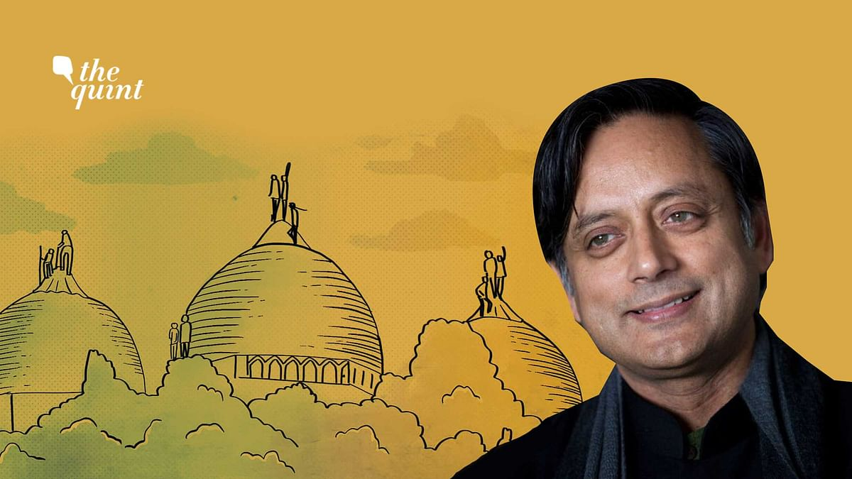 Image of the Babri-Ayodhya site, and a profile photo of Dr Shashi Tharoor, used for representational purposes.