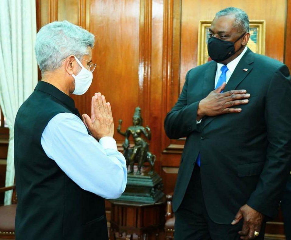 Foreign Minister S Jaishankar (left), US Defence Secy Lloyd J. Austin (right)