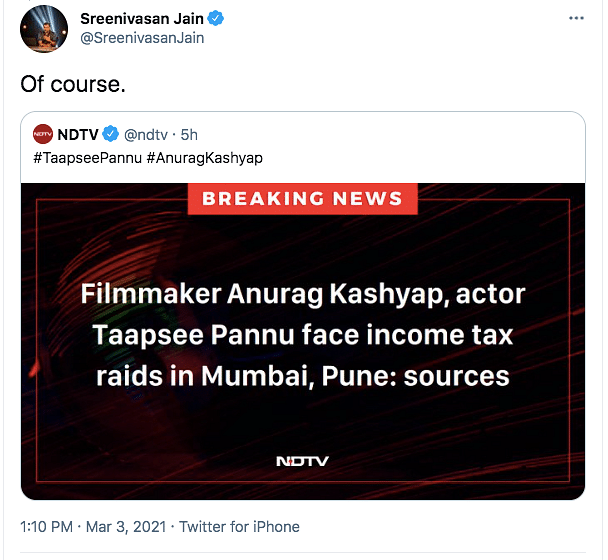 Twitter Reacts to Income Tax Raids at Taapsee, Anurag's Properties