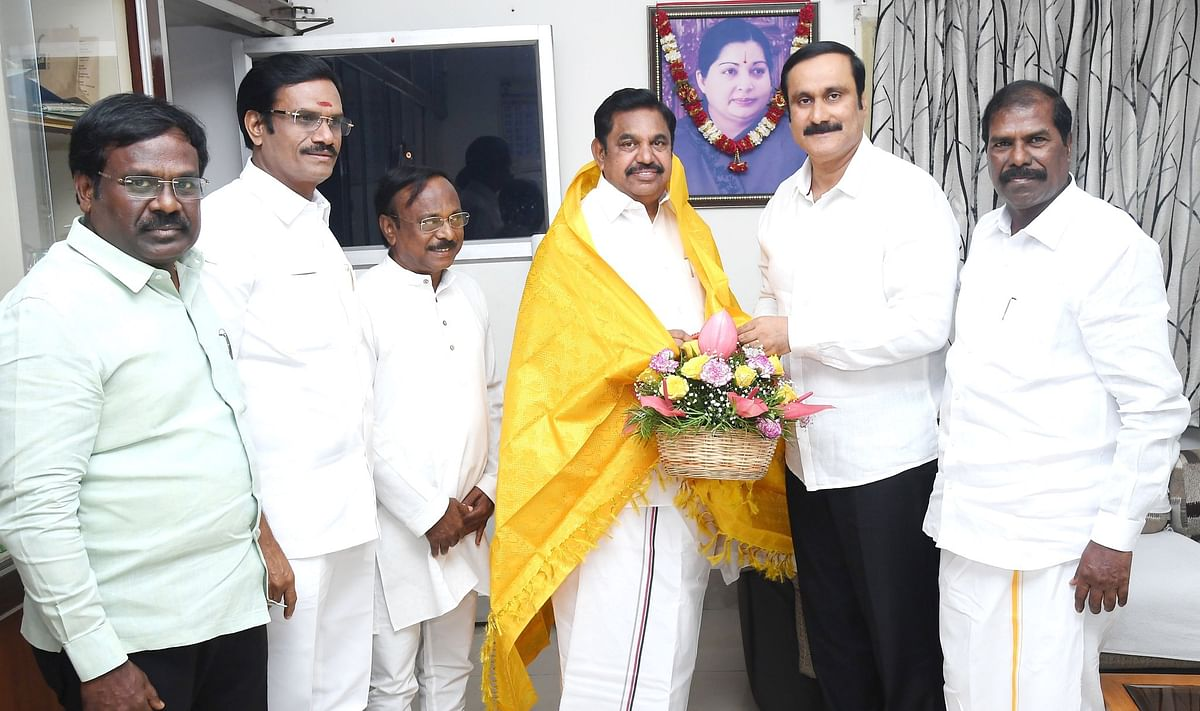 PMK's youth wing leader Anbumani Ramadoss (second from right) with AIADMK deputy chief Edappadi Palaniswami.