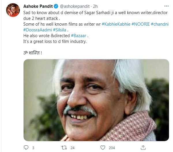 Veteran Scriptwriter Sagar Sarhadi Passes Away Aged 88