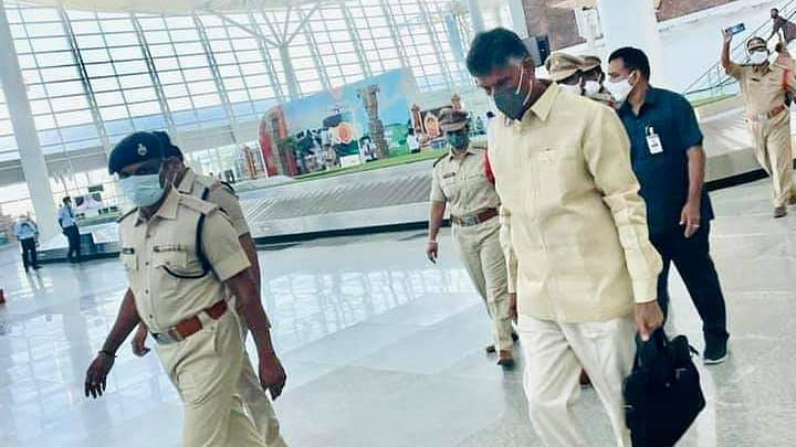 AP: TDP's Chandrababu Naidu Detained at Airport, Stages Protest