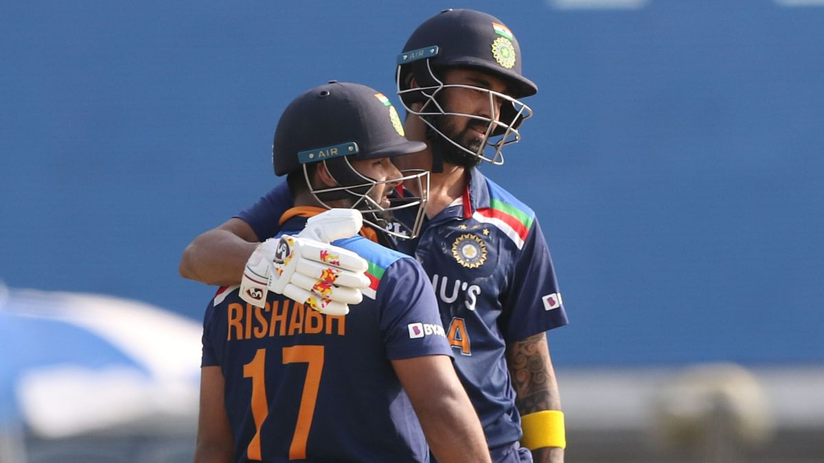 Rishabh Pant and KL Rahul during their century stand in the 2nd ODI against England.