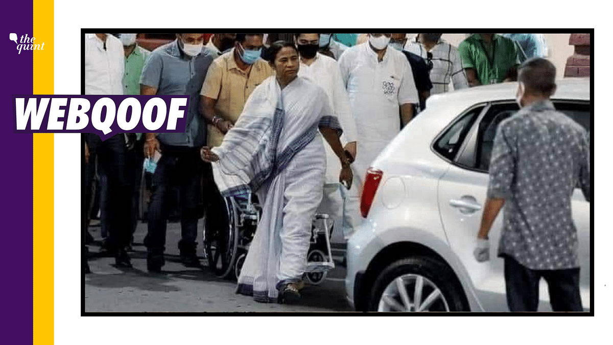 Some social media users shared a photoshopped image to claim CM Banerjee is doing 'drama' ahead of the West Bengal polls.