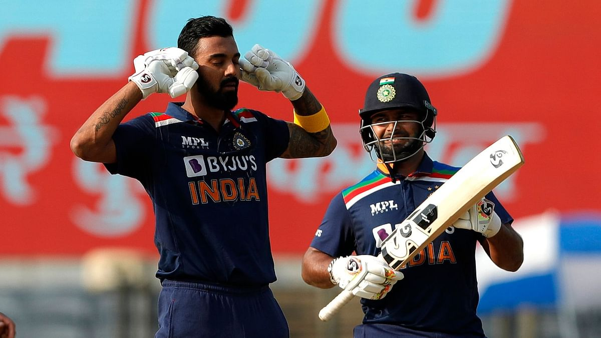 KL Rahul celebrates his century against England in the 2nd ODI in Pune.
