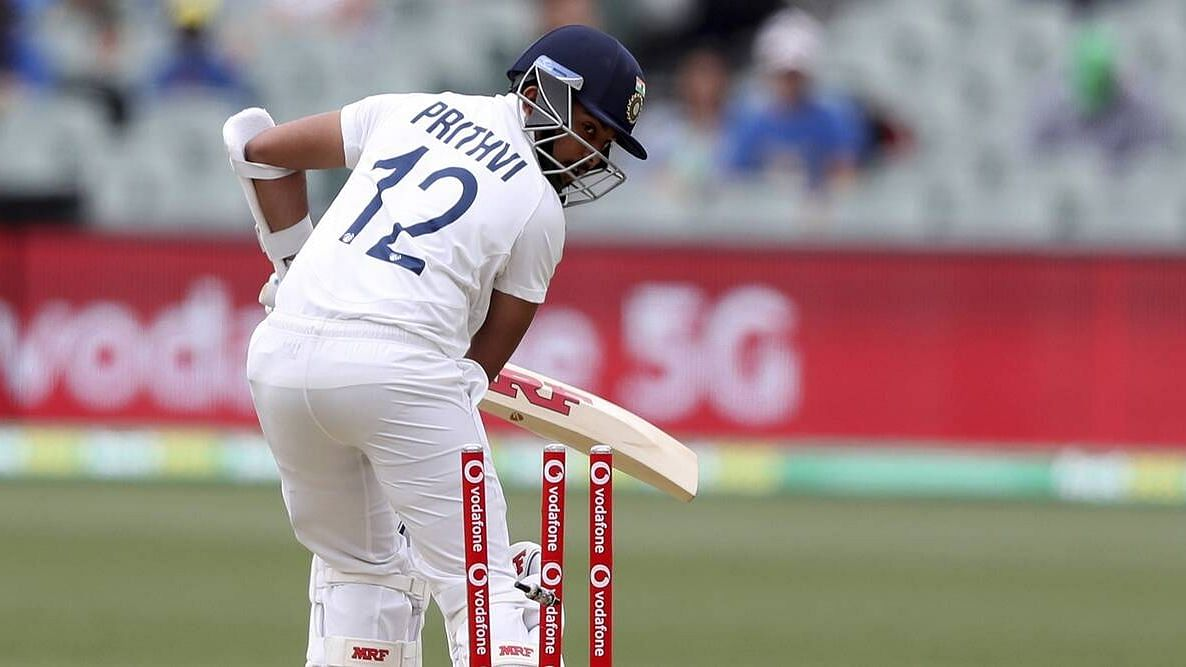 Prithvi Shaw gets dismissed in the Adelaide Test.