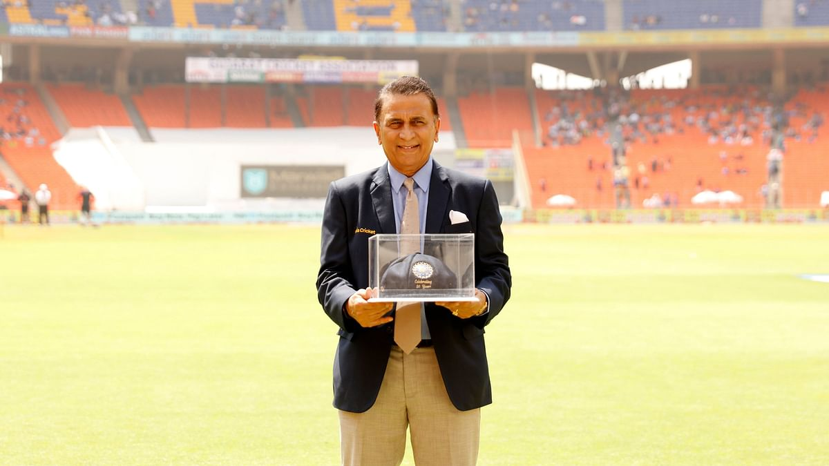 Sunil Gavaskar on his 10,000 Test runs anniversary during the Day 3 of the fourth PayTM Test match between India and England held at the Gujarat's Narendra Modi Stadium on the 6 March 2021.