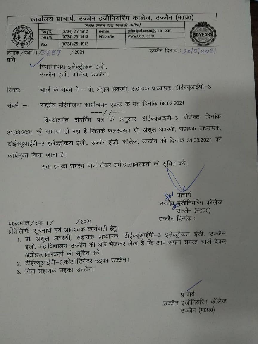 Termination notice to TEQIP faculty members at Ujjain Engineering College in Madhya Pradesh