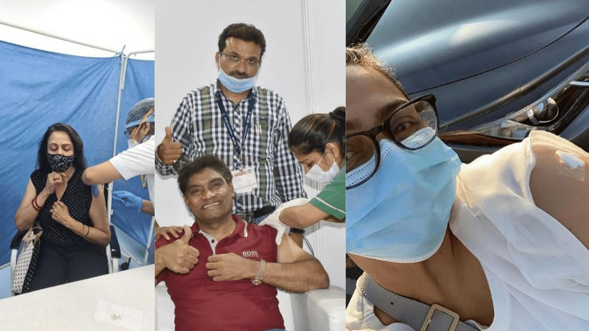 """<div class=""""paragraphs""""><p>Hema Malini, Johnny Lever, and&nbsp;Shilpa Shirodkar receive the vaccine</p></div>"""