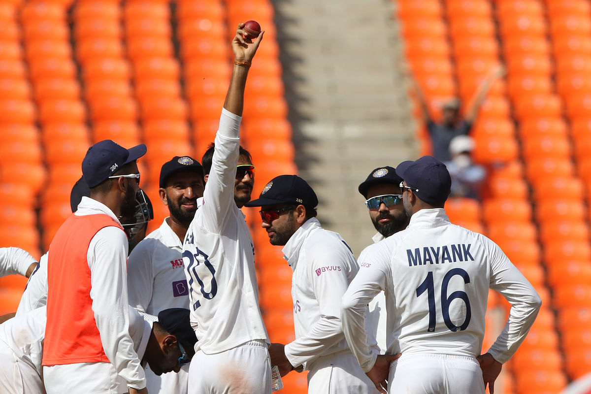 Axar Patel of India celebrates his 5th wicket during day three of the fourth PayTM test match between India and England held at the Narendra Modi Stadium, Ahmedabad, Gujarat, India on the 6th March 2021