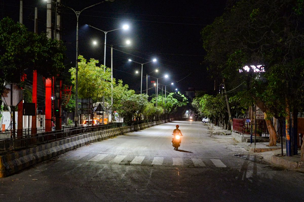 A city street wears a deserted look during night curfew. Image used for representative purposes.