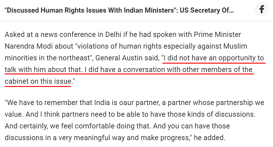 Did US Defence Secy Discuss Human Rights Issue With Indian Min?
