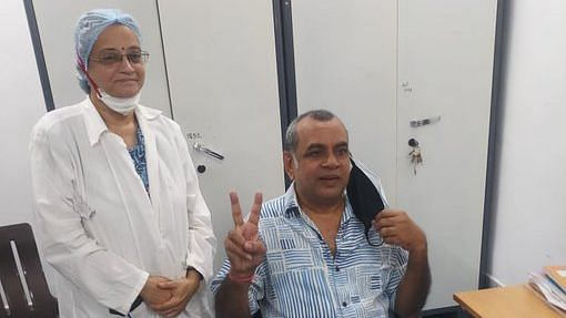 Paresh Rawal after getting his first COVID-19 vaccine shot.