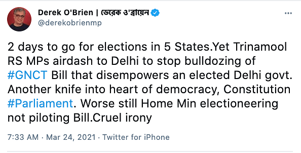 "TMC MP Derek O'Brien tweeted on Wednesday that the new Bill is ""another knife in the heart of democracy""."
