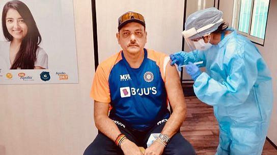 India head coach Ravi Shastri takes the COVID-19 vaccine in Ahmedabad.