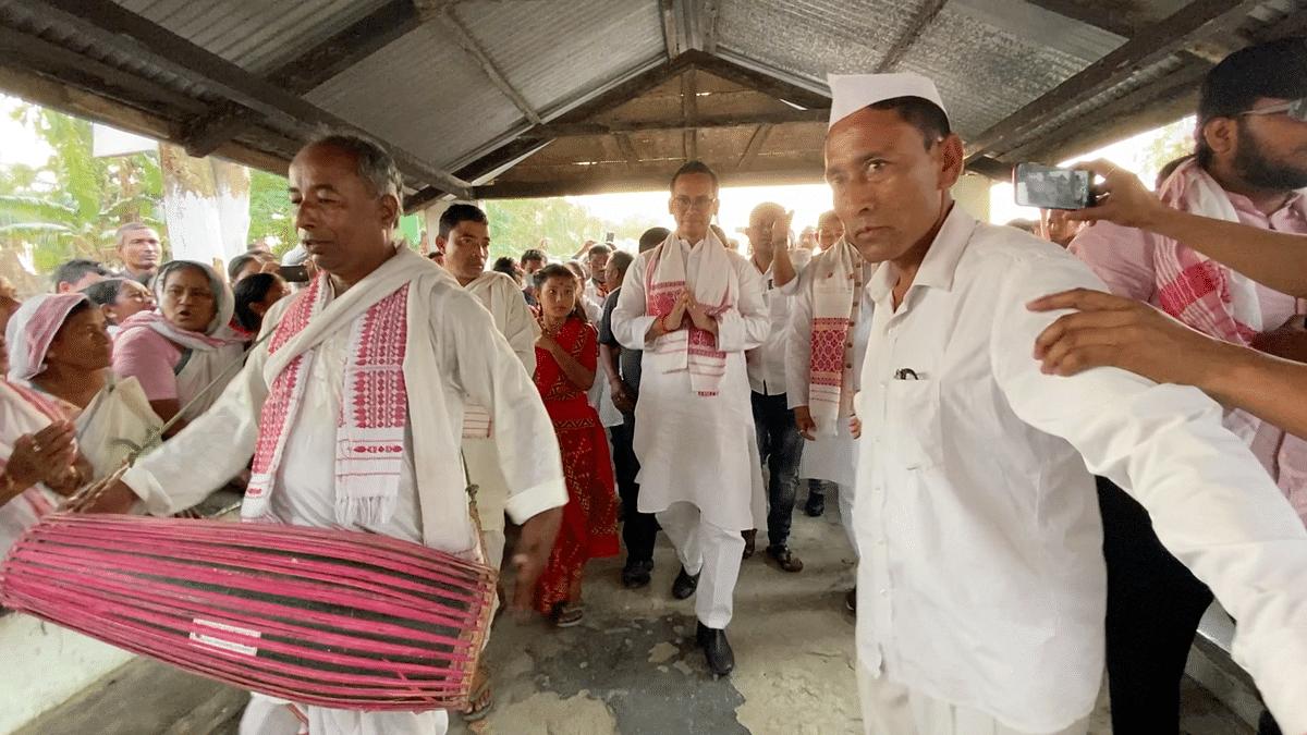 Guarav Gogoi in an election rally in Bihupuria, Assam.