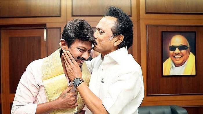 DMK President Stalin with his son Udhayanidhi Stalin