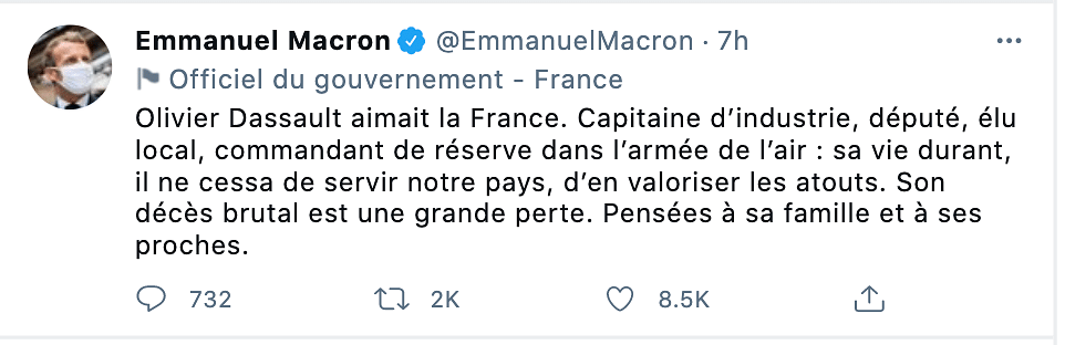French President Emmanuel Macron offered his condolences to Dassault.