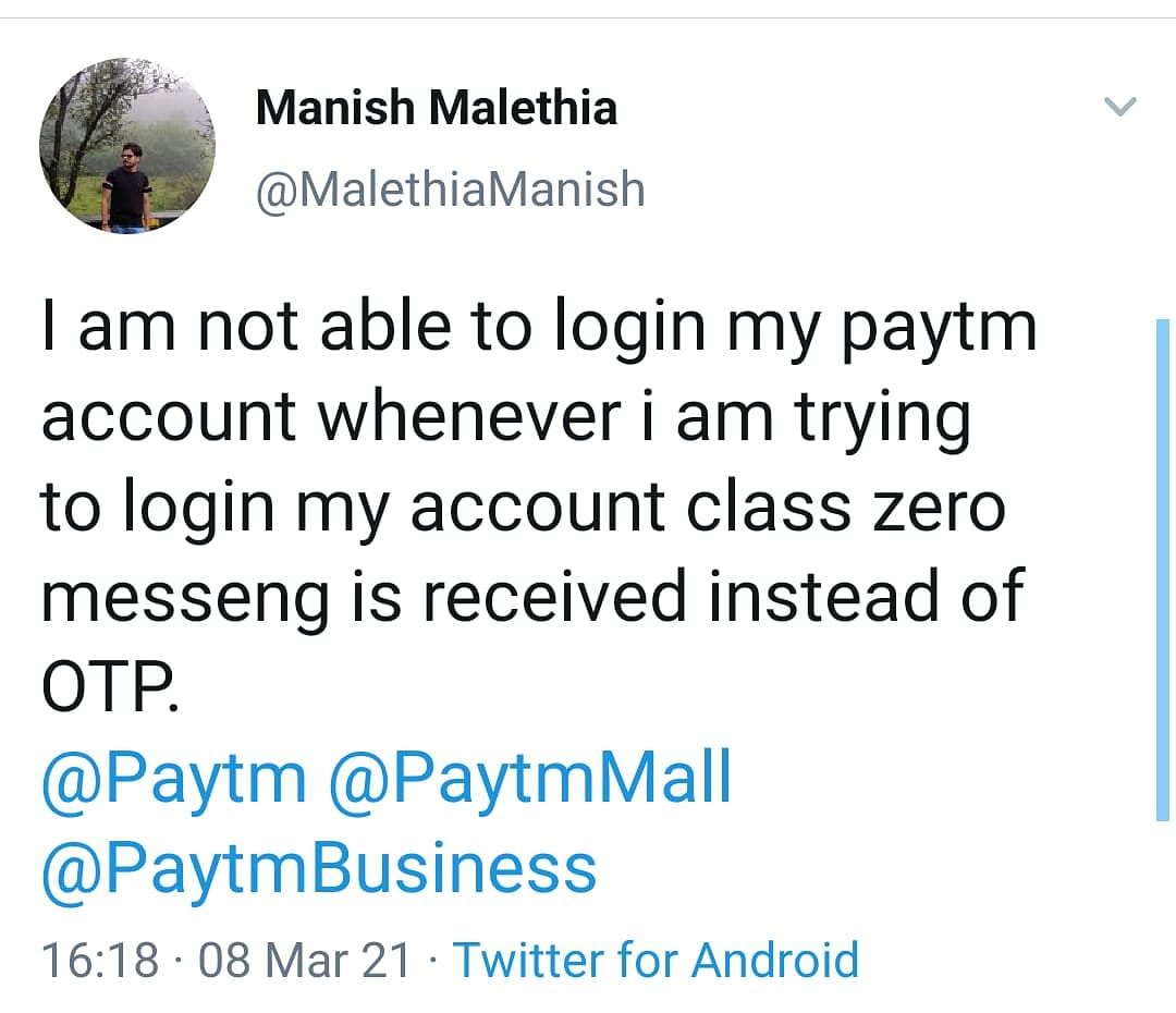 Paytm users did not receive OTP.