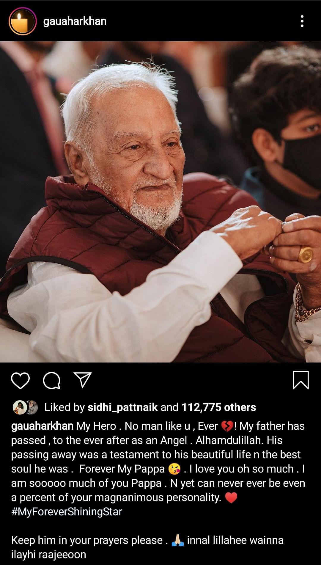 Gauahar Khan's Father Zafar Ahmed Khan Passes Away