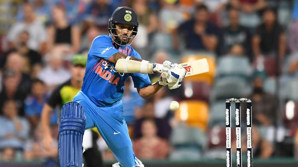 Shikhar Dhawan in action for India in T20Is.