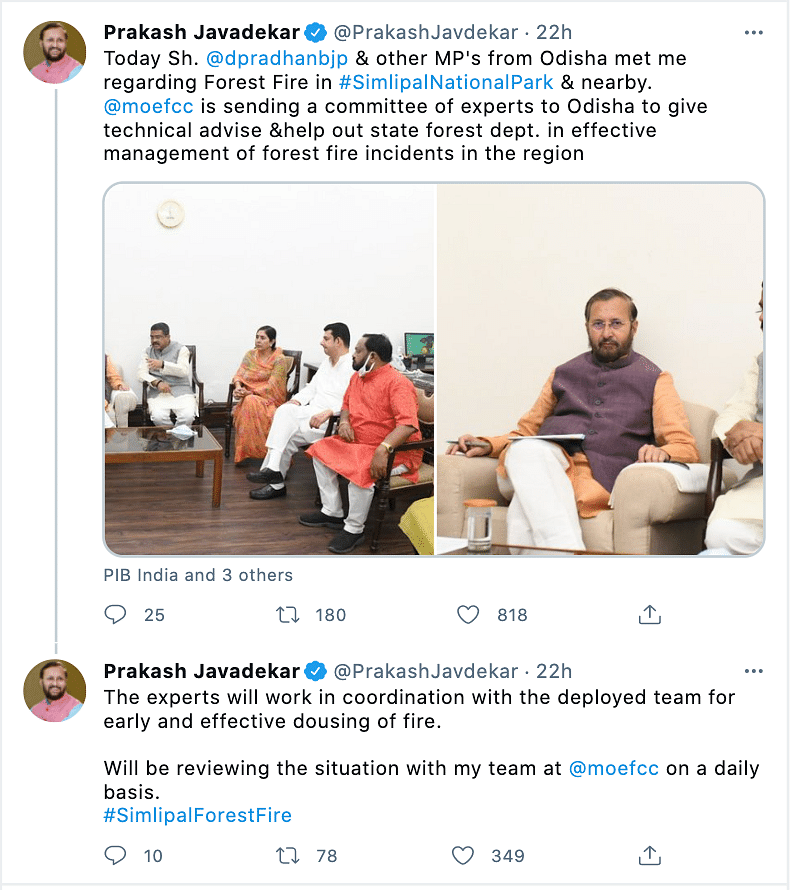 Union Forest and Environment Minister Prakash Javadekar is monitering the situation on a daily basis and has constituted a committee to assess the situation.